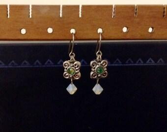 Green and opal swarovski crystal drop earrings