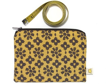 Clearance sale - Zip pouch, mustard yellow and dark brown cotton