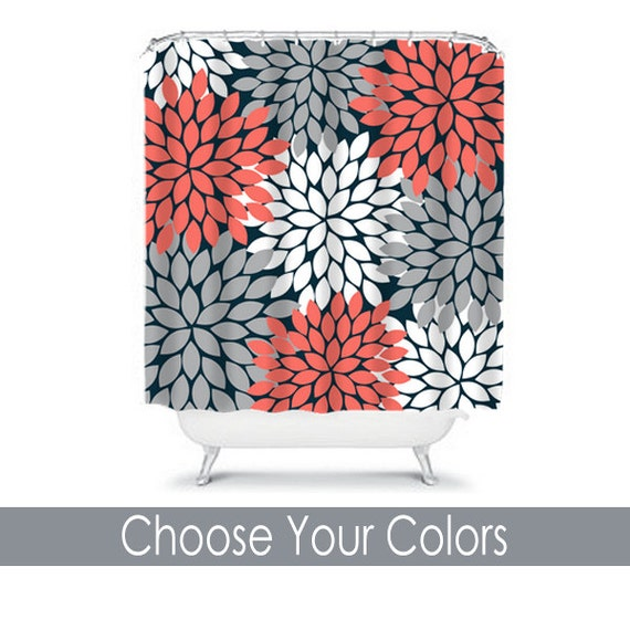 Coral Gray Shower Curtain Flowers Custom Monogram By Trmdesignshop