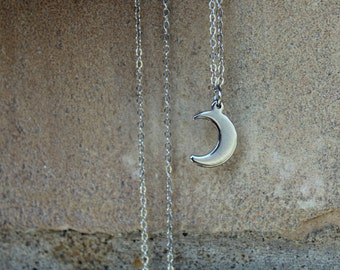 Silver Moon Necklace ( Tiny Moon necklace, Minimal Necklace, Simple Necklace, Bohemian, Long Necklace rhodium necklace long silver necklace)