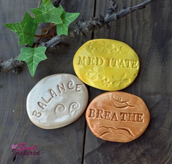 Relax Stone: Relaxation Word Stones Meditation And By SoulInspiredCeramics