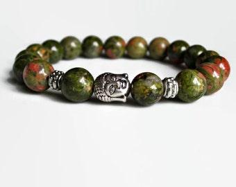 Mens beaded bracelet, mens bead bracelet, Energy bracelet, Unakite bracelet, Buddha bracelet, mens jewellery, uk seller