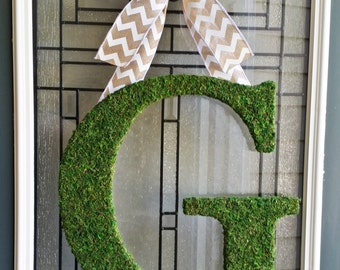 "Moss Initial Wreath,18"" Moss Letter,Custom Front Door Initial Wreath,Door Letter,Rustic Wedding Monogram,Fall Monogram,Woodland Theme Wreath"