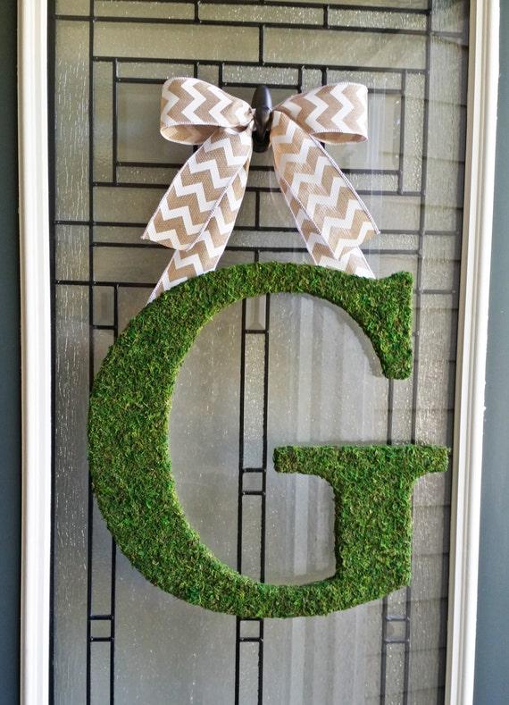 front door lettersMoss Initial WreathMoss LetterCustom Front Door Initial