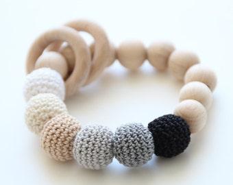 Black-grey Baby Teething Bracelet / Baby Teething toy / Natural Wooden Bead Bracelet