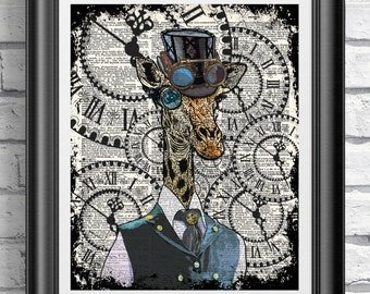 STEAMPUNK Giraffe Painting ORIGINAL Art, Steampunk Decor Steampunk Print Steampunk ANIMAL Artwork, Funny Wall Art Poster, Monocle Giraffe