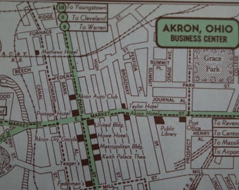1951 - Akron City Map - Vintage Map of Akron - Street Map - Antique Map - Small City Map Great for Gifts & Presents