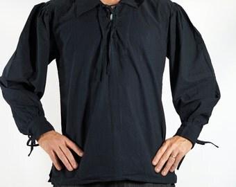 MERCHANT SHIRT BLACK - Renaissance clothing, steampunk shirt, sca tunic, pirate costume, medieval clothing, viking tunic, sca garb