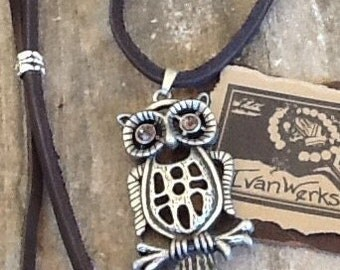 Owl Necklace Leather Necklace Boho Necklace layering necklace Men's necklace Women's necklace