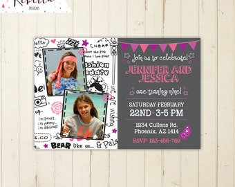 twins birthday invitation girls birthday invitation tween invitation 6th 7th birthday invitation 8th 10th 11th 9th 12th 13th 14th pink