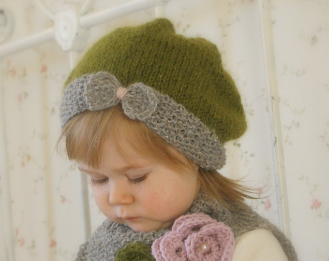 KNITTING PATTERN  slouchy bow hat Veera and cowl with crochet flower (baby, kids, woman sizes)