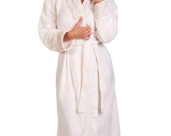 """Women Plush Robe 48"""" Shawl Collar Sheared Robe"""