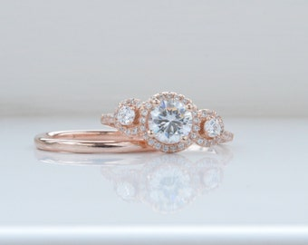 CUSTOM: 14K Rose Gold Round Halo Engagement Ring - Three Stone Engagement Ring - 3 Stone with Brilliant Cut Cubic Zirconia
