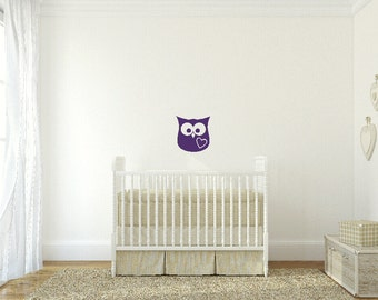 Owl Vinyl Decal Baby Wall Decal Owl Wall Decal Owl Nursery Decals Preschool Classroom Decals Animal Decals Woodsy Decal Owl Wall Decor