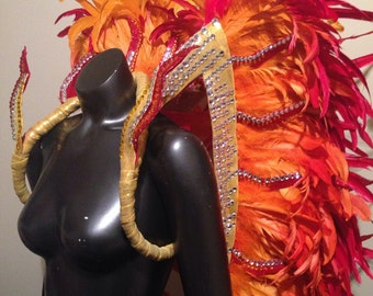 Custom Made Girl on Fire: Samba Feather backpack- Sambista- Passista- Musa do Carnaval Dance Costume