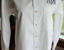 Oversized Monogrammed Buttondown Shirt for Brides/ Bridesmaids/  Beach Cover Up