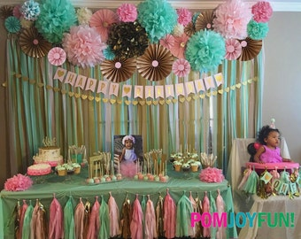 Baby Shower Decorations 14 Poms 12 Rosettes Party Decor Backdrop | Fans | Pom Wheel and Paper Medallions | Gender Reveal Paper Rosettes