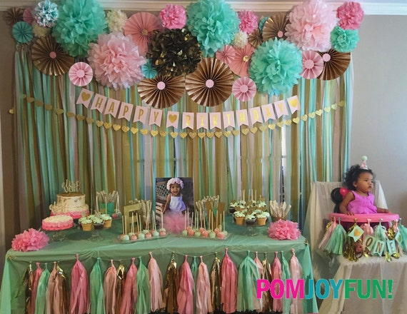 14 poms 12 rosettes party decor backdrop fans pom for Backdrop decoration for birthday