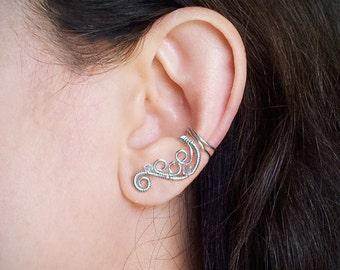 Silver Ear Cuff Silver plated Swirl Swarovski Ear Wrap