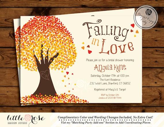 Fall Wedding Shower Invitations: Falling In Love Invitation Bridal Shower By LittleRoseStudio