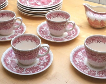 Set of 2 VILLEROY & BOCH 'Burgenland' Red and White Porcelain Tea Cup with Saucer // Vintage German Transferware