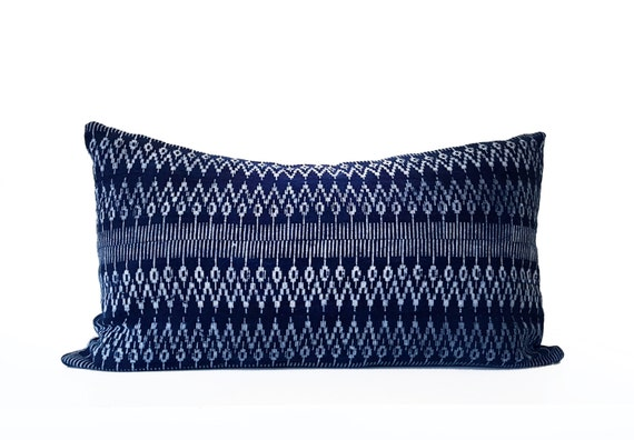 "Geometric Indigo Batik Hmong Pillow, Hand-dyed by Tribal Women, Natural Indigo, Blue, White, 14"" x 24"""