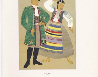 Polish Poland traditional dress peasant costume Kathleen Mann vintage book plate folklore Europe