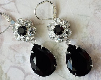 Elegant Crystal Earrings - Black Teardrop Earrings - Crystal Rhinestone Earrings - Swarovski Crystal Earrings