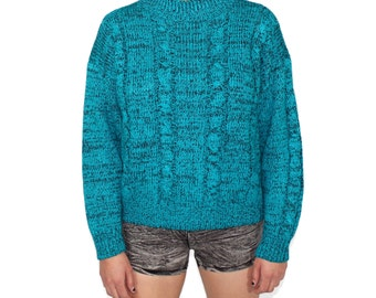 Speckled Sweater, Turtleneck Sweater, Turtleneck Jumper, Speckled Jumper, Teal Jumper, Teal Sweater