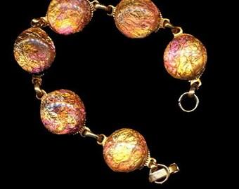 Vintage Moonglow Pink Lucite Round Bracelet