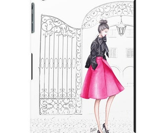 iPad case, ipad mini, ipad air, fashion illustration, fashion art, watercolor - A touch of pink