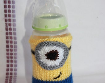 Knit Minion Baby Bottle Cozy - Baby Bottle Cozy - Knitted Bottle Cover