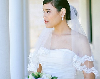 Two tier lace veil, blusher veil, ivory wedding veil, lace edge veil, veil with lace in elbow, fingertip, waltz, chapel, cathedral length