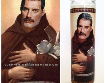 "Freddie Mercury Prayer Candle. Saint Mercury! Great Gift! Premium Handmade 9"" Soy Candle!"