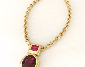 Monet Pendant- Vintage Pink and Purple Crystal Pendant -Statement Necklace -Gold Tone - Wedding, Costume Jewelry, Party, Rehearsal Dinner