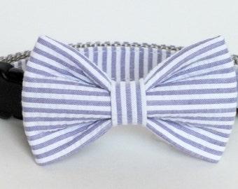 Purple Seersucker Dog Collar Bow Tie set, pet bow tie, collar bow tie, wedding bow tie