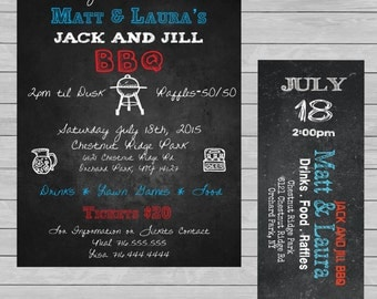COMBO BUNDLE Jack & Jill Invite and Ticket BBQ - Custom - Print - Digital