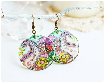 Resin Transparent Earrings Paisley. Ethnic Round Mandala Ornament Blue Color