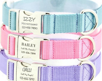 Personalized Dog Collar, Engraved Pet ID Tag, Small Dog, Large Dog, Name Plate Adjustable  Dog Collar, Lavender, Pink, Baby Blue