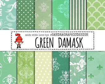 "50% OFF - Digital paper: ""GREEN DAMASK"" with various damask pattern background paper in the color green (1014)"