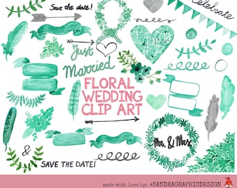 Floral Wedding Clipart, Wedding Flower Clipart, Digital Wedding Clipart, Save the Date, Digital Wedding Flowers, 40 PNG (5172)