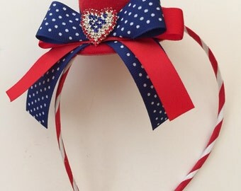 July 4th Patriotic Red White Blue Mini Hat Fascinator / Headband