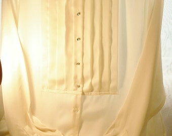 Liz Claiborne Vintage Silk Like Blouse,Long Sleeve Shirt,Career,  Egg Shell Color, Size 8,Liz Claiborne Suit Blouse Rhinestone Buttons,