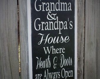 Grandparents Sign Mothers Day Gift Wood Sign Wooden Sign Gift for Mom Word Art Chic Rustic 1x2