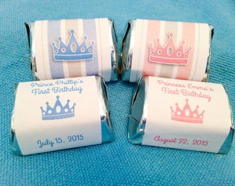 Custom Crown Nugget Labels, Chocolate Nuggets, Baby Shower Favors, 1st Birthday, Blue Prince, Princess Party, Pink Tiara, Candy Wrappers