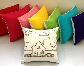 Colouring In House Design Pillow Cover | Hand Drawn Black & White Cushion | Kids Decor | Kids Craft Activity | Throw Pillow