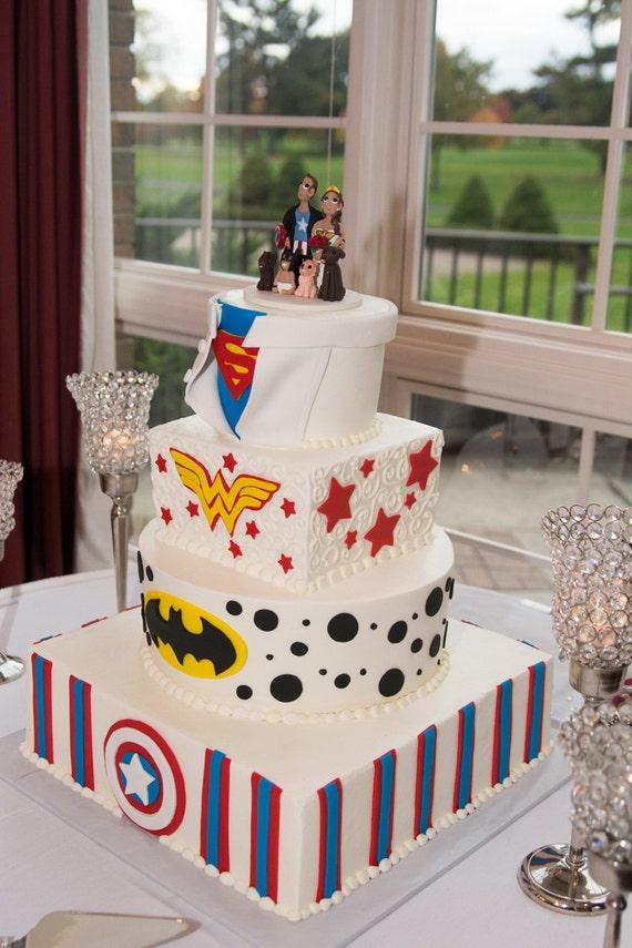 custom super hero themed wedding cake topper super woman. Black Bedroom Furniture Sets. Home Design Ideas