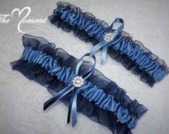 Blue Garter Set, Navy and Smoke Blue Garter, Something Blue Garter, Bridal Garter, Prom Garter, Lingerie Garter, Keepsake Garter