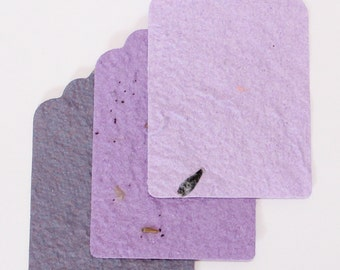 12 Eco Friendly, Seed Gift Tags in Purple colours, plantable paper , Recycled paper with seeds embedded.