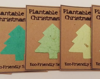 10 Eco Friendly, Seed Paper card inserts for Christmas Cards or Gifts